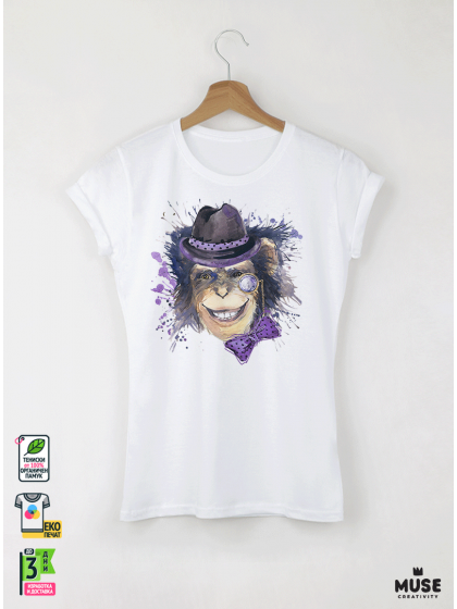 Aquarelle Мonkey Дамска бяла тениска с дизайнерски принт