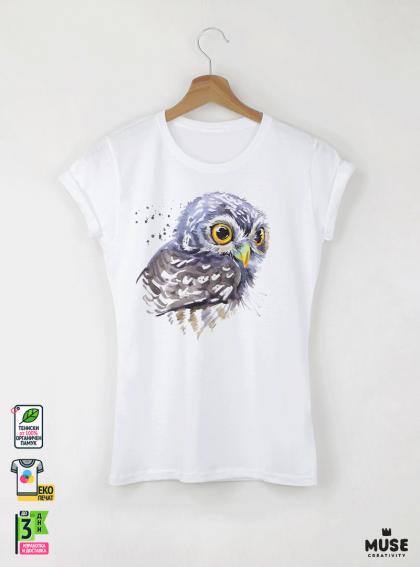 Aquarelle Owl Детска бяла тениска за момиче с дизайнерски принт