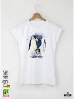 Aquarelle Penguin Дамска бяла тениска с дизайнерски принт Азиатски Размер