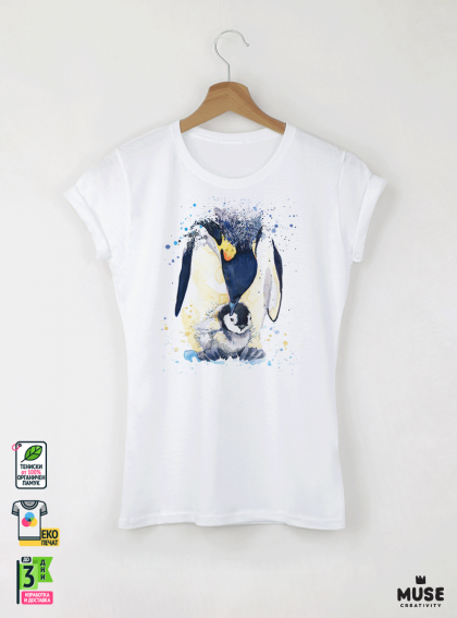Aquarelle Penguin Детска бяла тениска за момиче с дизайнерски принт
