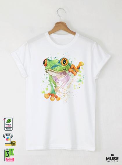 Aquarelle Frog Детска Бяла Тениска за момче с Дизайнерски Принт
