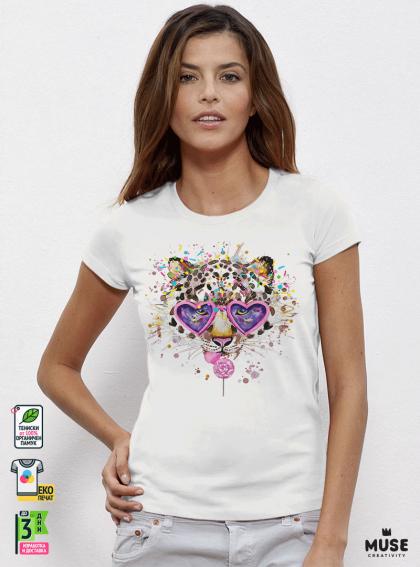 Aquarelle Lolli Tiger Дамска бяла тениска с дизайнерски принт