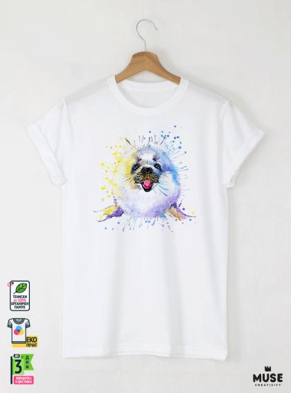 Aquarelle Seal Мъжка Бяла Тениска с Дизайнерски Принт