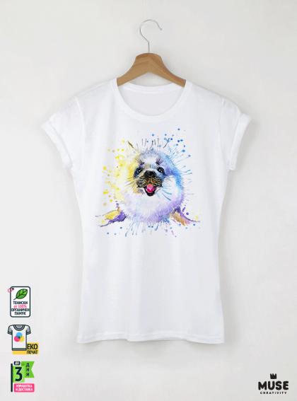 Aquarelle Seal Детска бяла тениска за момиче с дизайнерски принт