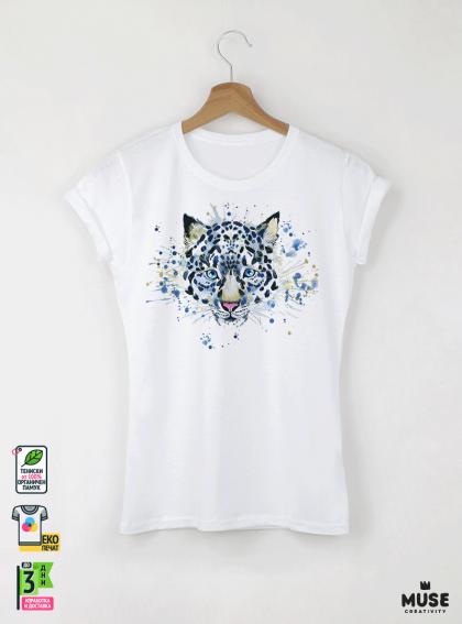 Aquarelle White Tige Детска бяла тениска за момиче с дизайнерски принт