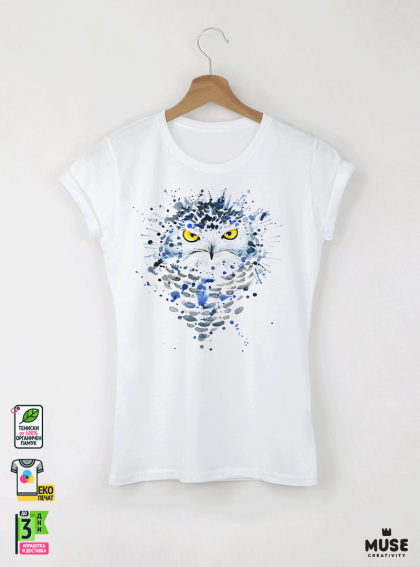 Aquarelle White Owl Детска бяла тениска за момиче с дизайнерски принт