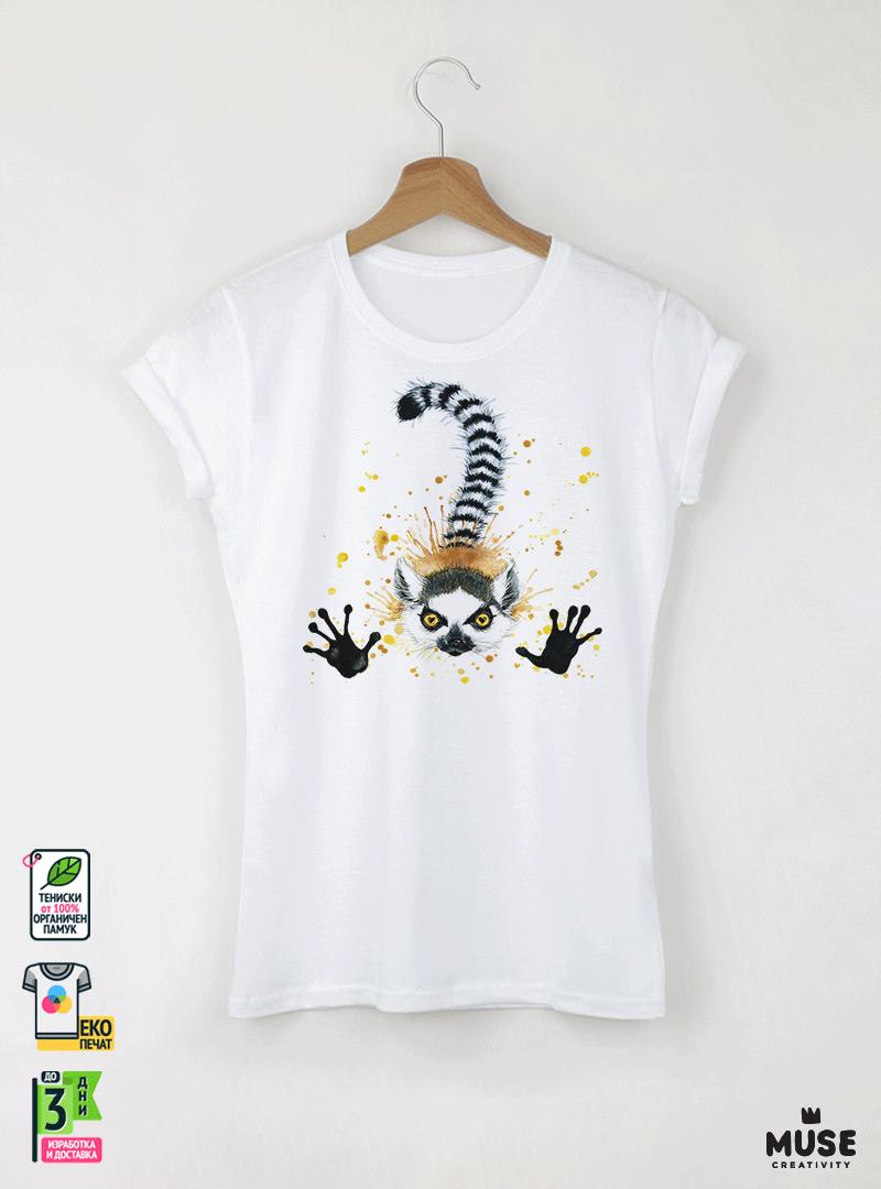 Aquarelle Lemur Детска бяла тениска за момиче с дизайнерски принт