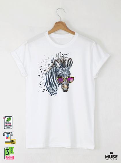 Aquarelle Zebra Мъжка Бяла Тениска с Дизайнерски Принт