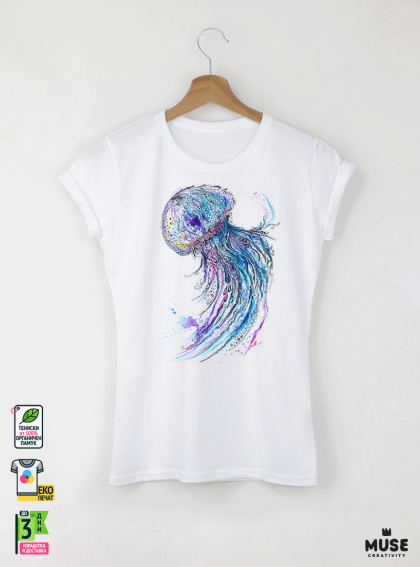 Aquarelle Jellyfish Детска бяла тениска за момиче с дизайнерски принт