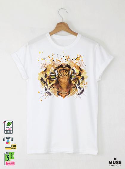 Aquarelle Tiger Мъжка Бяла Тениска с Дизайнерски Принт
