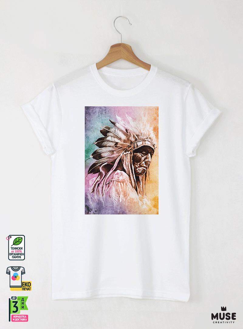Aquarelle indian Детска Бяла Тениска за момче с Дизайнерски Принт