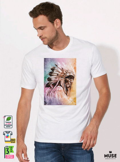 Aquarelle indian Мъжка Бяла Тениска с Дизайнерски Принт