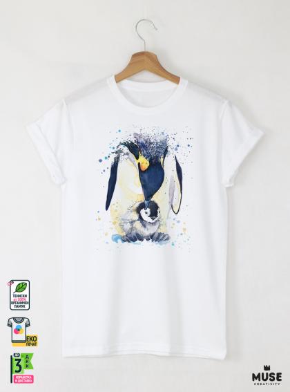 Aquarelle Penguin Мъжка Бяла Тениска с Дизайнерски Принт