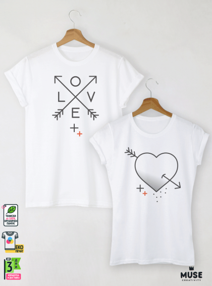 Heart and Arrow Graphic Тениски за двойки с дизайнерски принт
