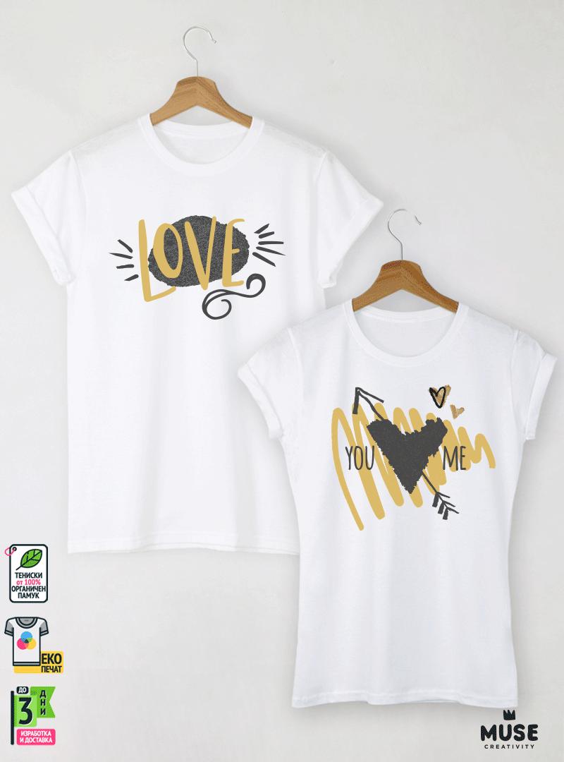 Ace Heart Тениски за двойки с дизайнерски принт