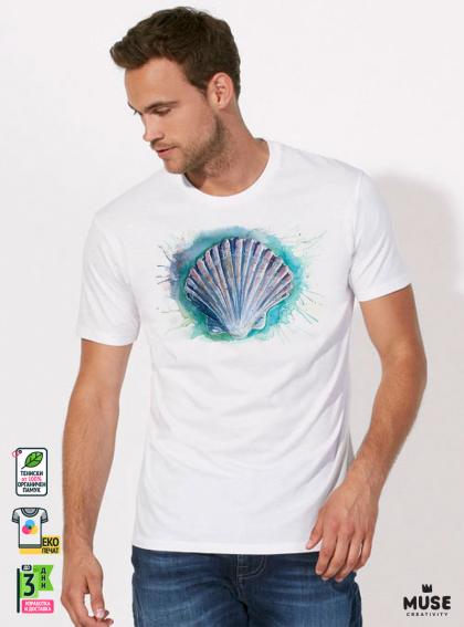 Aquarelle Scallop Shell Мъжка Бяла Тениска с Дизайнерски Принт