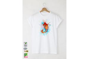 Aquarelle Seahorse Мъжка Бяла Тениска с Дизайнерски Принт
