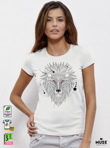 Lion Vec Дамска бяла тениска с дизайнерски принт
