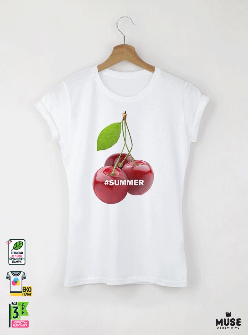 Summer Cherry Дамска бяла тениска с дизайнерски принт
