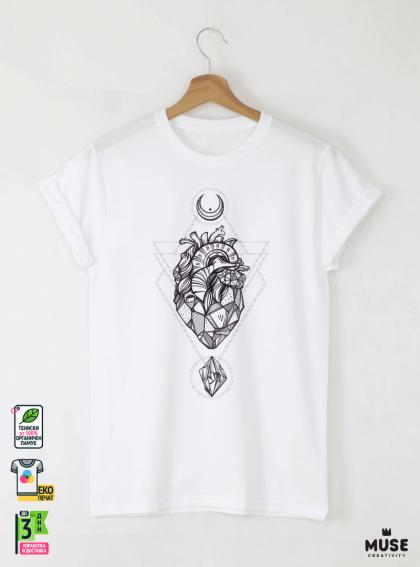 Heard vec мъжка бяла тениска с дизайнерски принт
