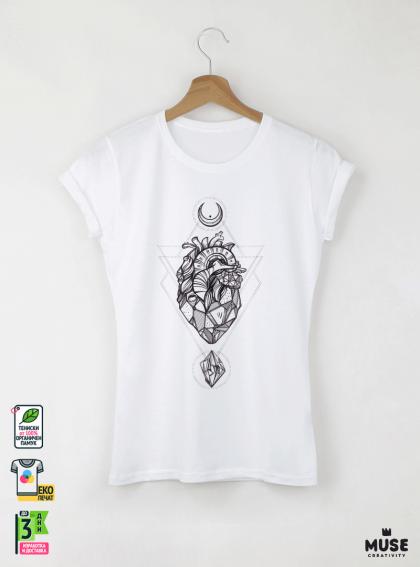 Heart Vec Дамска бяла тениска с дизайнерски принт