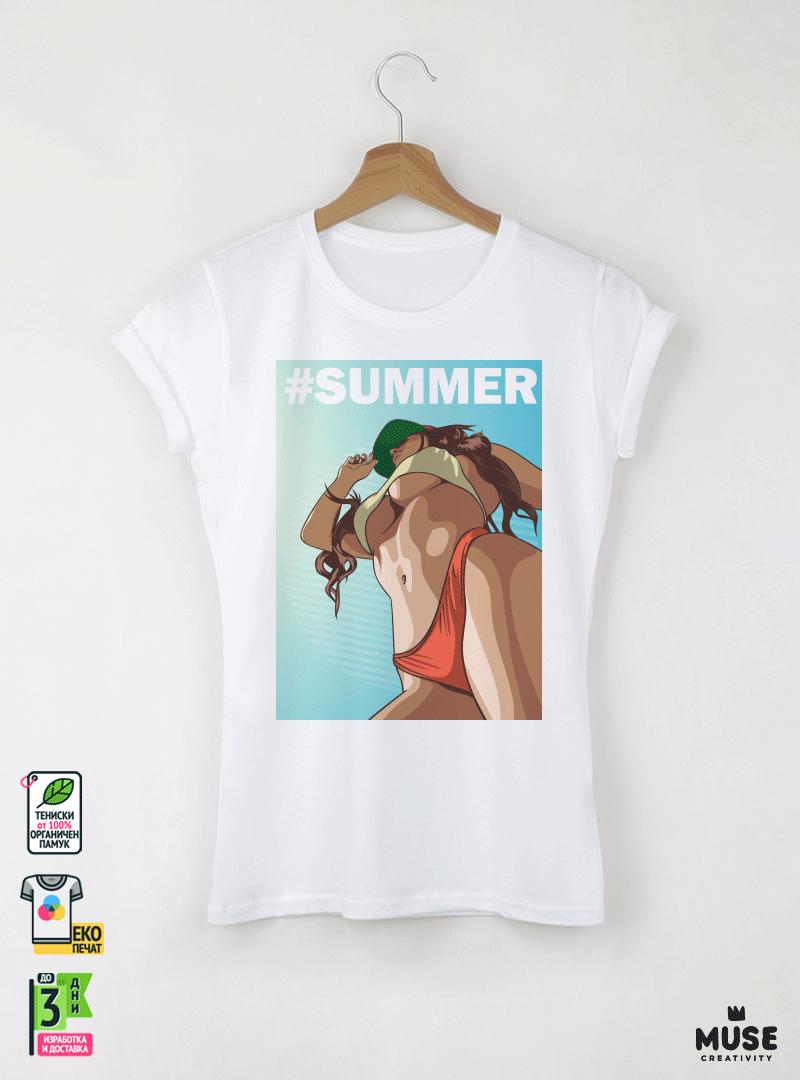 Save Summer Дамска бяла тениска с дизайнерски принт