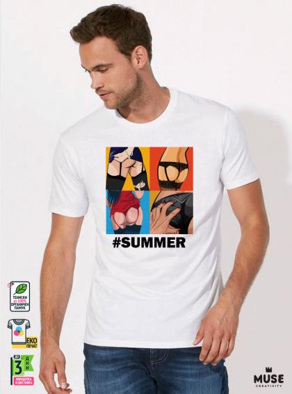 Erotic ARTs мъжка бяла тениска с дизайнерски принт
