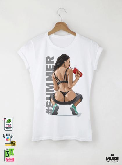 Take off the Summer Дамска бяла тениска с дизайнерски принт