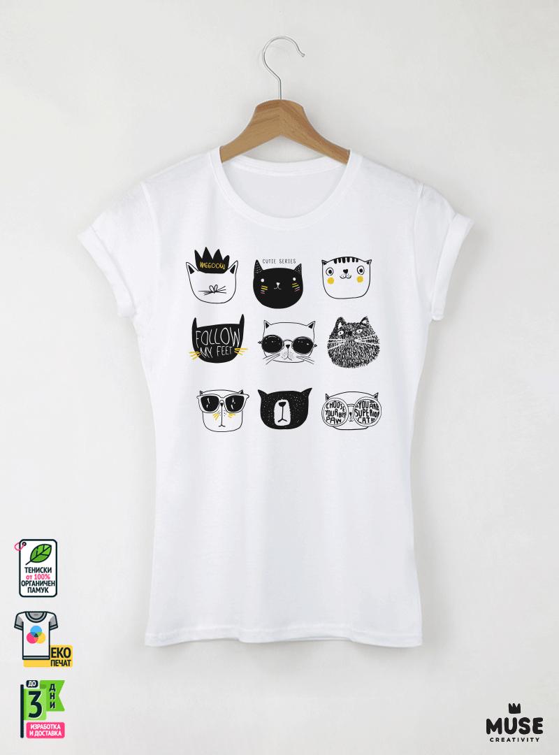 Super Cats Дамска бяла тениска с дизайнерски принт