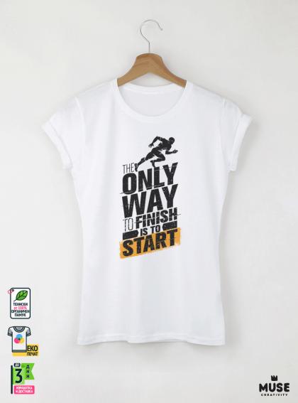 Only Way Дамска бяла тениска с дизайнерски принт