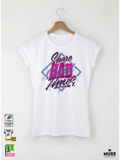 Share The Good Дамска бяла тениска с дизайнерски принт