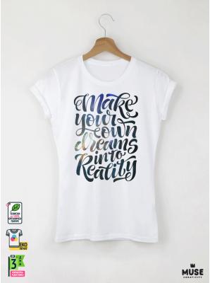 In To Reality Дамска бяла тениска с дизайнерски принт