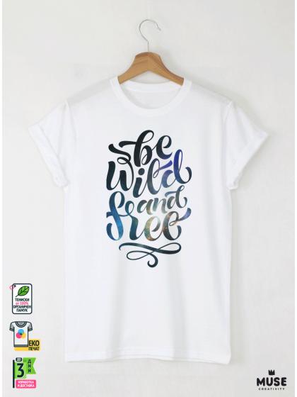 Wild and Free Мъжка бяла тениска с дизайнерски принт