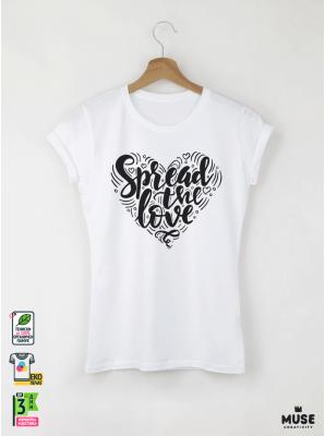 Spread Love Дамска бяла тениска с дизайнерски принт