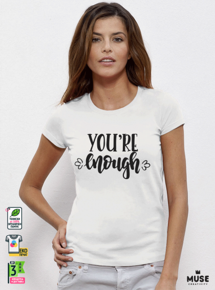 Enough Дамска бяла тениска с дизайнерски принт