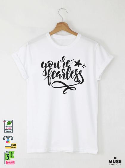 Fearless Мъжка бяла тениска с дизайнерски принт