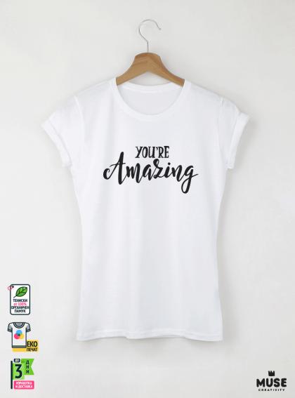 Amazing Дамска бяла тениска с дизайнерски принт