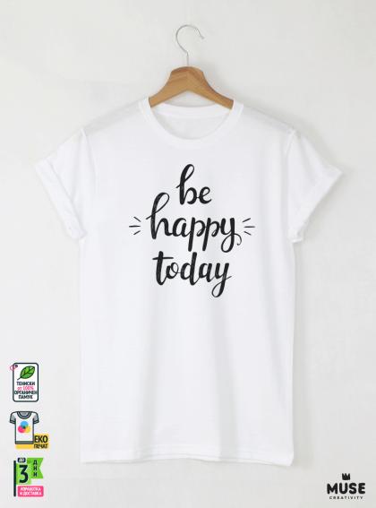 Be Happy Мъжка бяла тениска с дизайнерски принт