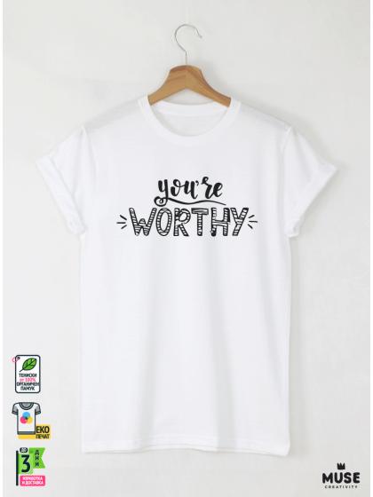 Worthy Мъжка бяла тениска с дизайнерски принт