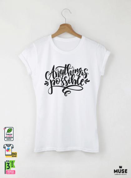 Anything Дамска бяла тениска с дизайнерски принт