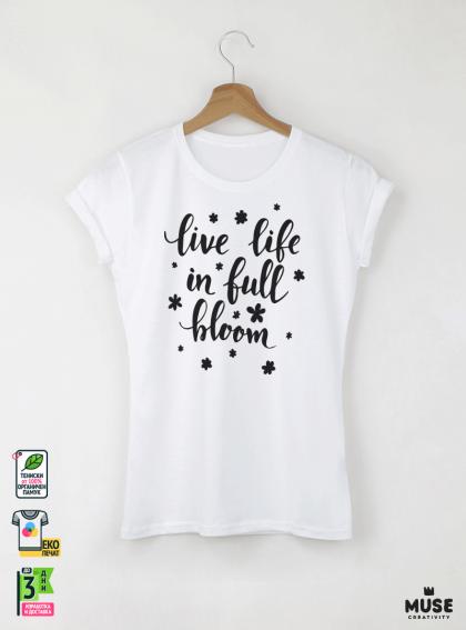 Bloom Дамска бяла тениска с дизайнерски принт