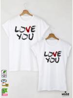 V Love Тениски за двойки с дизайнерски принт