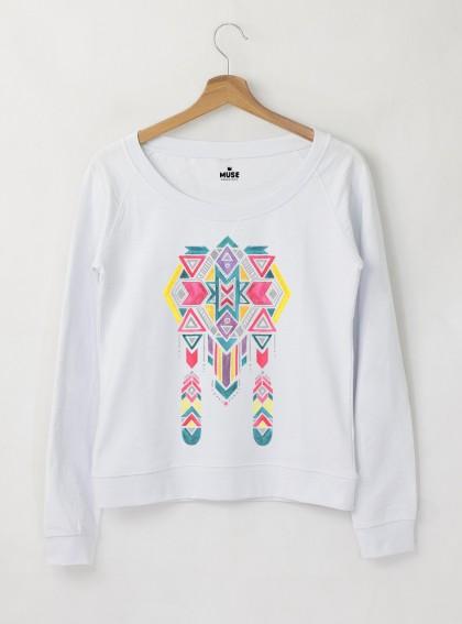 Ethno 11 Акварел - Дамска снежно бяла Блуза с дизайнерски принт