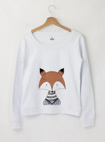FOX Дамска снежно бяла Блуза с дизайнерски прин