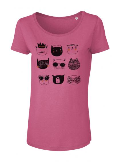 Camelia Pink Cats Дамска Тениска От Органичен Памук И Модал С Дизайнерски Принт