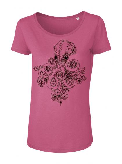 Camelia Pink Octopus Дамска Тениска От Органичен Памук И Модал С Дизайнерски Принт