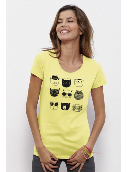 Iris Yellow Cats Дамска Тениска От Органичен Памук И Модал С Дизайнерски Принт