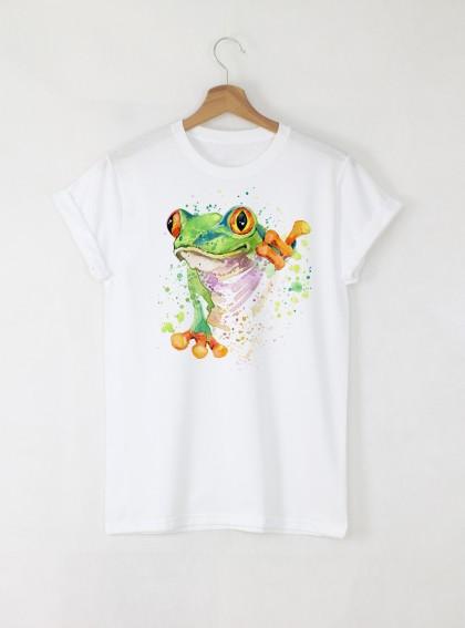 Aquarelle Frog Дамска бяла тениска с дизайнерски принт