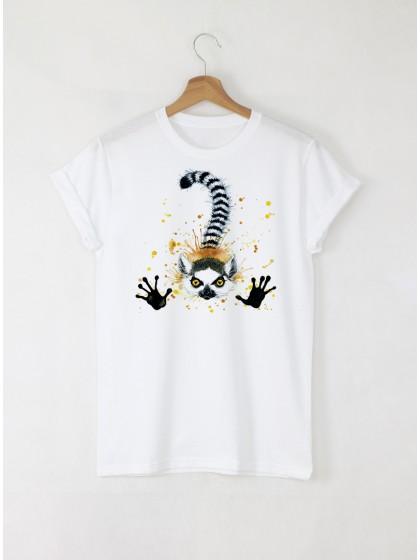 Aquarelle Lemur Дамска бяла тениска с дизайнерски принт
