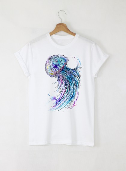 Aquarelle Jellyfish Дамска бяла тениска с дизайнерски принт